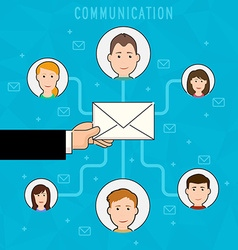 Communication process flat web infographic of vector image vector image