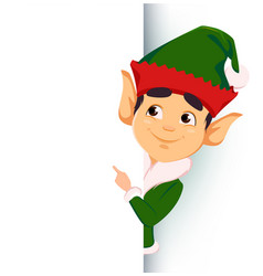 elf standing behind a sign and showing on blank vector image vector image