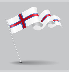 Faroe islands pin wavy flag vector