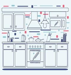 Linear flat interior design of modern kitchen vector image vector image