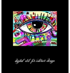 original contemporary digital eye painting artwork vector image vector image