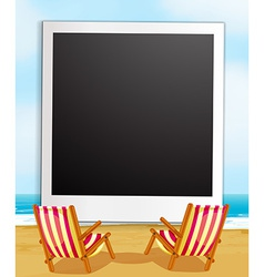 Photo frame and beach vector image