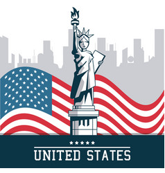 statue of liberty united states flag with city new vector image