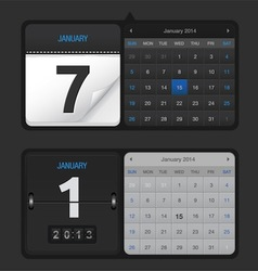 Black Calendar Set vector image vector image