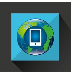 earth global smartphone connected media vector image