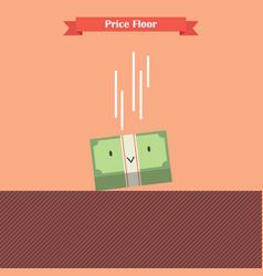 money bill falling limit by price floor vector image vector image