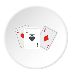 playing cards icon circle vector image