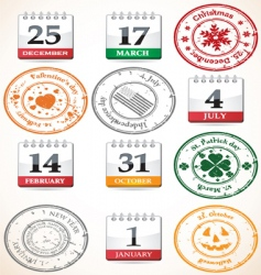 set of stamps and calendars vector image