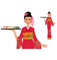 Waitress in kimono holds plate with sushi vector image