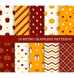 10 retro different seamless patterns Autumn theme vector