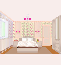 a bedroom interior with light floral wallpaper vector image