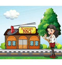 A girl in front of the Korean BBQ store vector