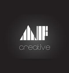 Af a f letter logo design with white and black vector