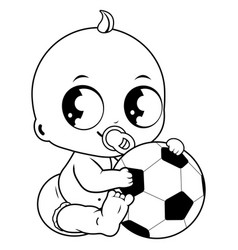 Baby boy playing with a soccer ball vector