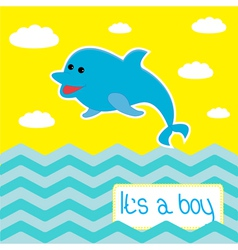 Baby boy shower card with cute dolphin vector