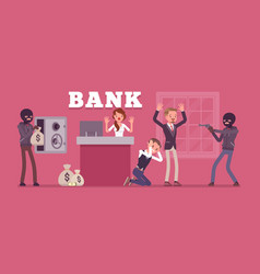 bank robbery by masked criminals vector image