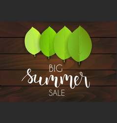 Banner for summer sale green leaves on dark vector