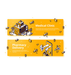 banners medical clinic and pharmacy delivery vector image
