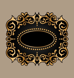 black frame with golden ornament vector image