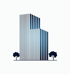 Blue buildings and trees vector