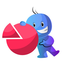 Blue cartoon caracter with a statistic sign on vector