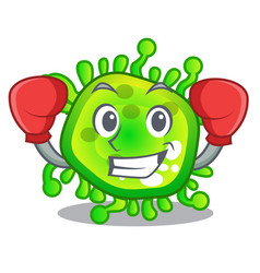 Boxing character microbe bacterium on palm vector
