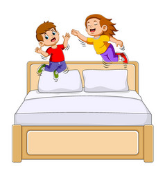 Boy and girl jumping on bed vector