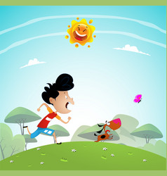Boy playing with dog in the park vector