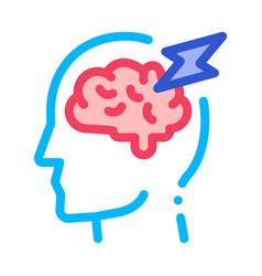 brain lightning volt silhouette headache vector image