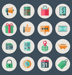 Business and commerce flat design icons set vector image