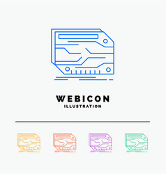 Card component custom electronic memory 5 color vector