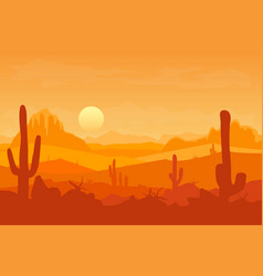 Cartoon desert with silhouettes cactus and vector