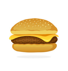 cheeseburger with meat and cheese vector image