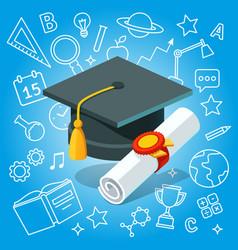 College university diploma graduate certificate vector