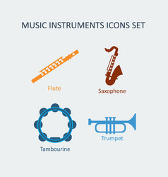 colored music instruments icons set vector image