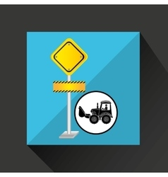 Construction truck concept road sign design vector