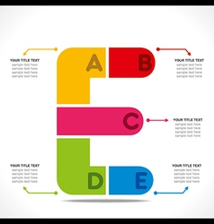 Creative alphabet e info-graphics design concept v vector
