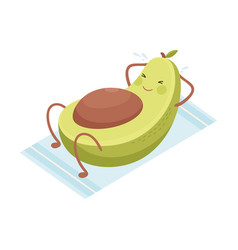 Cute funny avocado fruit character doing sports vector