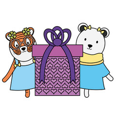 cute polar bear and tiger with gift in birthday vector image
