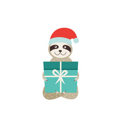 cute sloth with gift box christmas or new year vector image