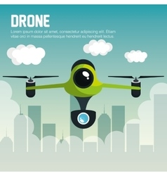 drone with camera fly city graphic vector image