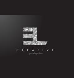El e l letter logo with zebra lines texture vector