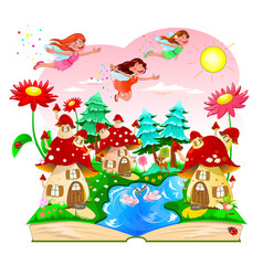 fairy book mushroom house river forest vector image