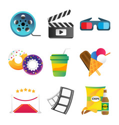 fast food and film cinema technology vector image