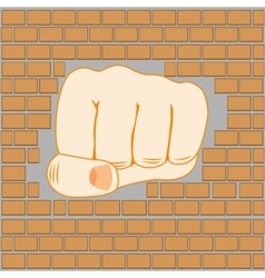 Fist in wall vector