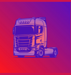 flat cabin truck red violent vector image