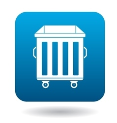 Garbage container icon in simple style vector