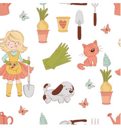 gardener spring season nature garden girl work vector image