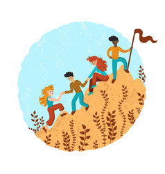 group climbers helping each other vector image