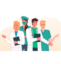 Group young smiling waving professionals vector